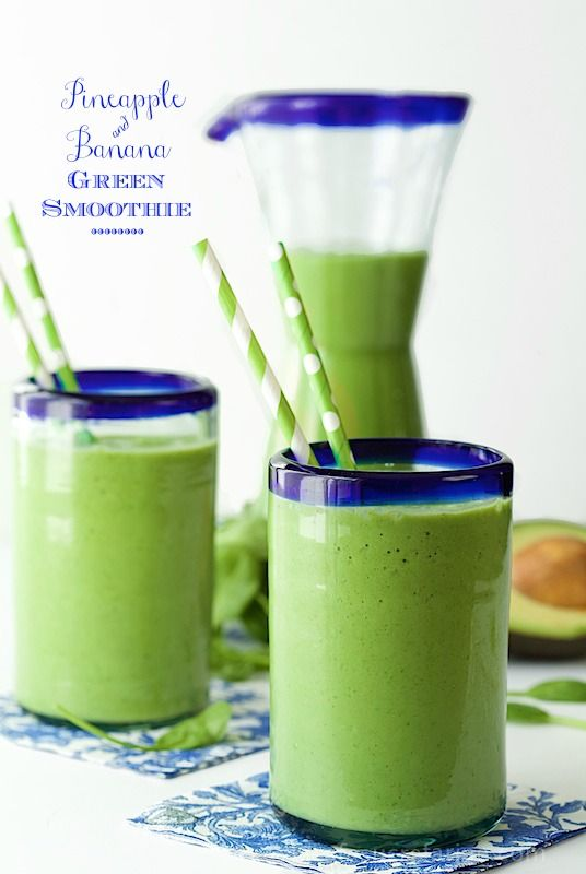 Pineapple and Banana Green Smoothie - it's super delicious, loaded with healthy ingredients and will keep you going for hours!
