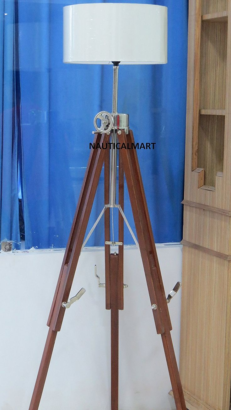 Chrome Finish Wooden Tripod Floor lamp For Living Room By Nauticalmart: Amazon.co.uk: Lighting