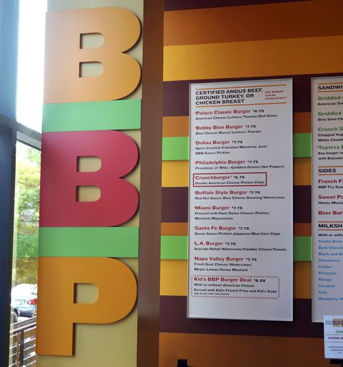 BOBBY'S BURGER PALACE MENU - when my daughter was in Children's Hospital of Philadelphia for surgery, my daughter, her friend and I stopped in for lunch after a visit. Good burger which you can read about here -->> http://www.reluctantgourmet.com/bobbys-burger-palace-visit/