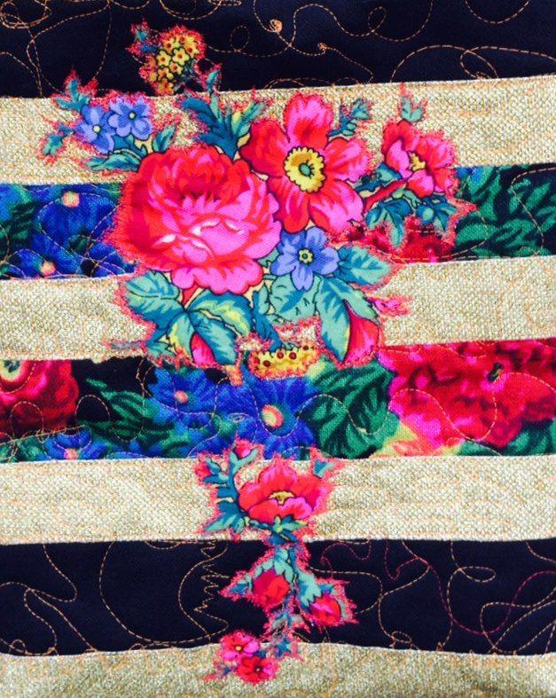 Romani Unique gold striped pattern 2015 gypsy roma style rose fashion textile rose inspiration