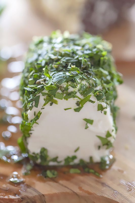 Herb-Coated Goat Cheese Log with Lemon Zest & Olive Oil | Recipe by Jackie Alpers
