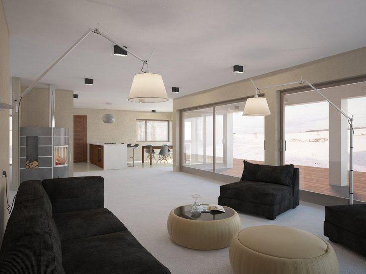 Casa pequena com arquitetura moderna, janelas grandes, planejamento aberto, terraço coberto para apreciar a vida ao ar livre.
