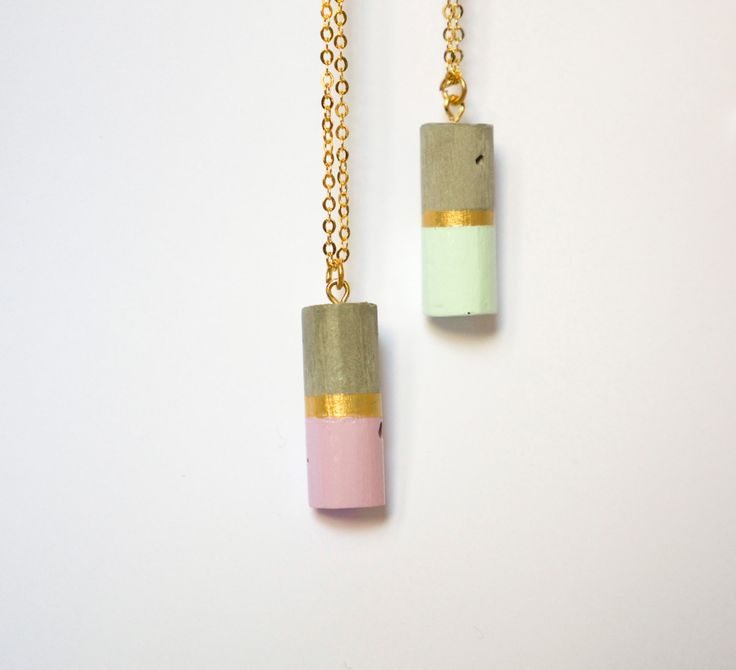Concrete cylinder necklace with a touch of color by gravelanddust