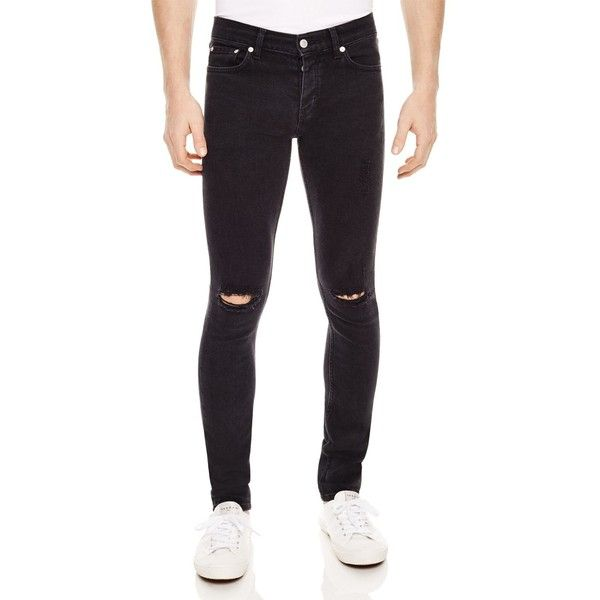 Sandro Iggy Destroyed Slim Fit Jeans in Black ($275) ❤ liked on Polyvore featuring men's fashion, men's clothing, men's jeans, black, mens distressed jeans, mens slim fit jeans, mens slim jeans, mens torn jeans and mens slim cut jeans