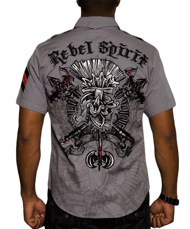 Pánská košile Rebel Spirit římský bojovník (šedá).