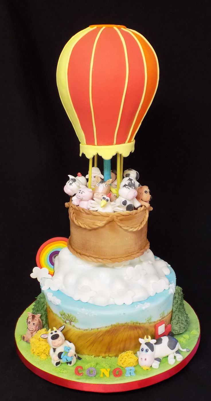 Hot Air Balloon Christening cake by Simply Cake's Ireland