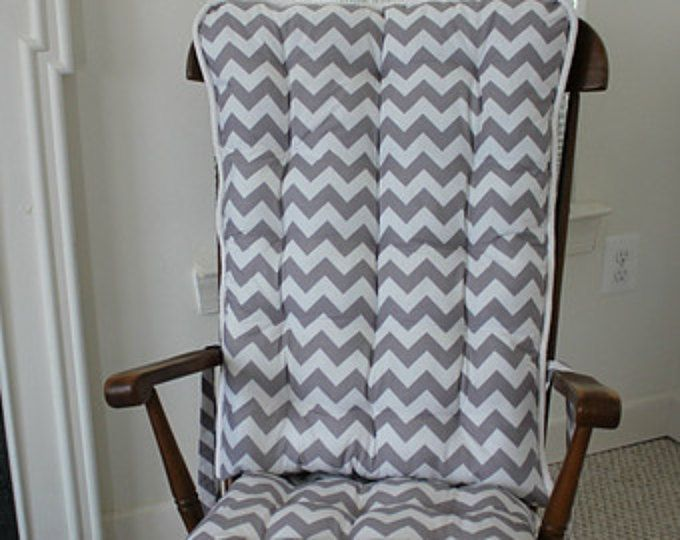 Custom Gray Chevron Rocking Chair Cushions, Rocking Chair Pads, Glider Replacement Pads, Wooden Rocking Chair Pads,  Custom Cushions