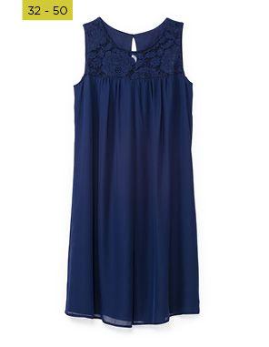 layered dress with lace yoke