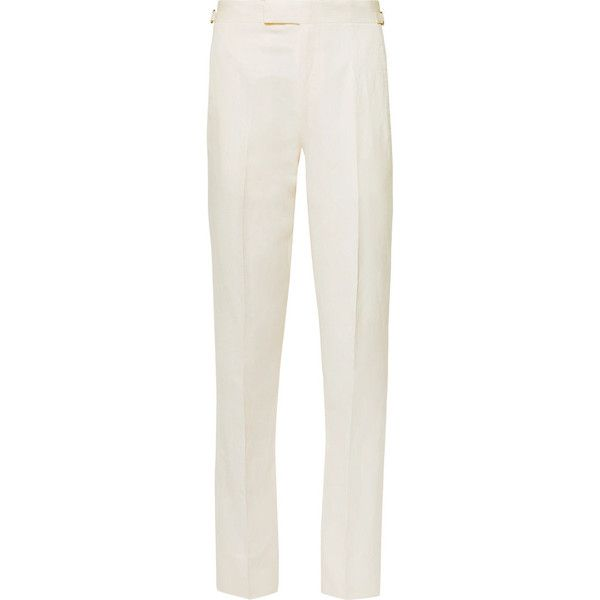 Anderson Sheppard Slim-Fit Linen and Silk-Blend Trousers ($600) ❤ liked on Polyvore featuring men's fashion, men's clothing, men's pants, men's casual pants, mens slim fit pants, mens slim pants, mens slim fit linen pants, mens casual linen pants and mens linen pants