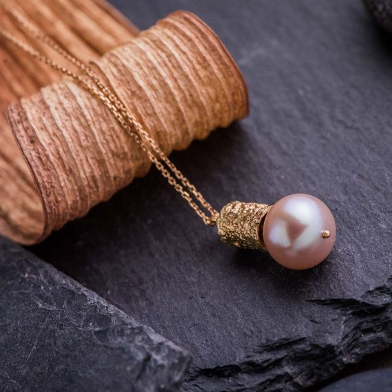 Unique Textured Pendant Necklace in 14K Rose Gold by ZEHAVAJEWELRY