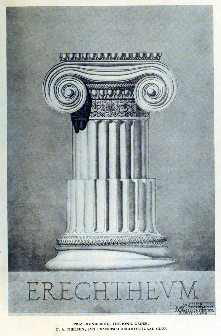 Drawing of an ideal Ionic column, 1928