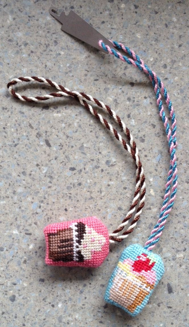 Needlepoint Cupcake Scissor Finder by Kirk & Bradley, stitched by needlepoint.com customer