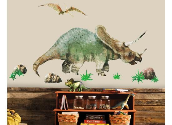 RoomMates Wandsticker Wandtattoo Dinosaurier TriceratopsDer riesige Wandsticker Triceratops und der Flugsaurier Pterodactylus erwecken Deine Wände zum urzeitlichen Leben. Entzücke Deinen kleinen Dinosaurier-Fan mit diesem riesigen Wandsticker.  Fertig für die Jurassic Party? Dieser Dinosaurier bringt prähistorisches Feeling in's Kinderzimmer, Spielzimmer oder den Kindergarten.