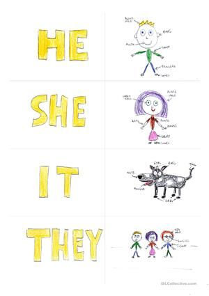 """Cut the cards along the gray lines, shuffle the cards and have the student form correct phrases such as """"they are houses"""", """"he is a boy"""", """"it is a phone""""...It is pretty self-explanatory really. :) enjoy!!! - ESL worksheets"""