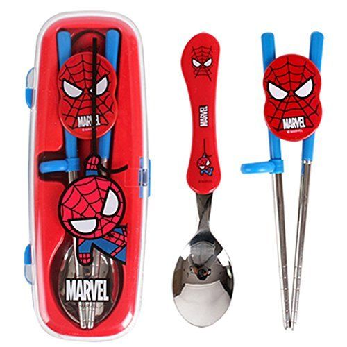 Marvel Spiderman Flatware Kids Nursery Baby Spoon and Training Chopstick Set with a Portable Box >>> To view further for this item, visit the image link.Note:It is affiliate link to Amazon.