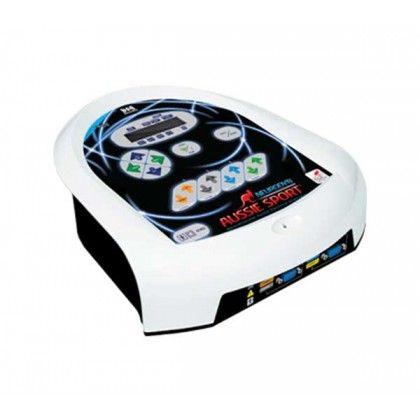 Neurodyn Aussie Sport es un dispositivo para aplicar corriente eléctrica a través de electrodos en contacto directo con el paciente. Se trata de un estimulador transcutáneo neuromuscular que utiliza la tecnología del microordenador, y es operado a través del teclado táctil, mostrando los parámetros elegidos por el terapeuta en la pantalla LCD alfanumérica.