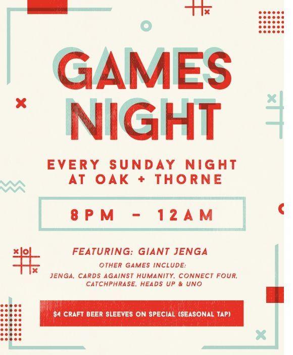 Games Night At Oak & Thorne