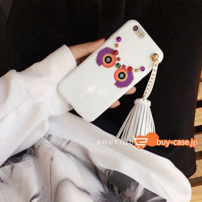 iphone8/7s/6s カバーモンスターアイフォン6ケースiPhone7欧米ゴージャス豪華風Fendiリベット付きフリンジ男女カップル向けペア7plusシリコン製ソフト