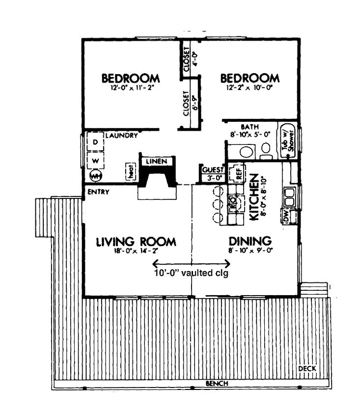 2 bedroom cabin plans two bedroom cabin hwbdo72605 cabin house plan from - Small Cottage Plans 2