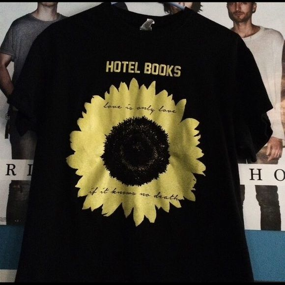 "hotel books sunflower shirt hotel books sunflower ""love is only live if it knows no death"" shirt ♡ in great condition, no flaws ♡ (tags: hotel books, band, band merch, concert, hot topic, sad, music, love, being as an ocean, la dispute, hardcore, alternative, rock, metal, grunge, sunflower, flower, horror, merch ) Tops Tees - Short Sleeve"
