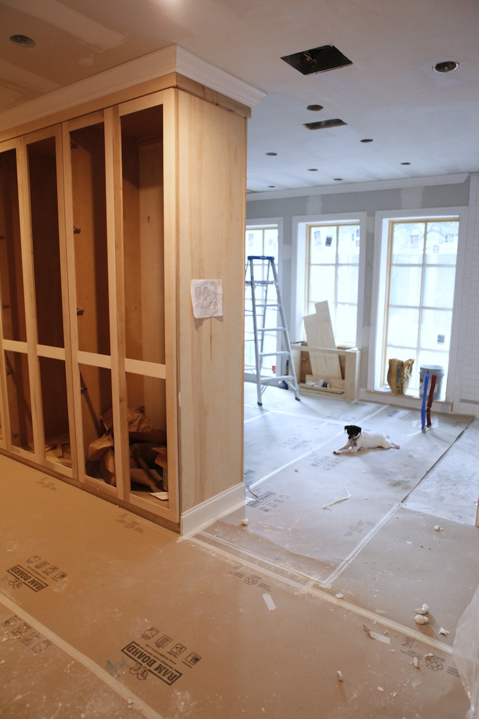 the long closets are wardrobes with glass inset doors