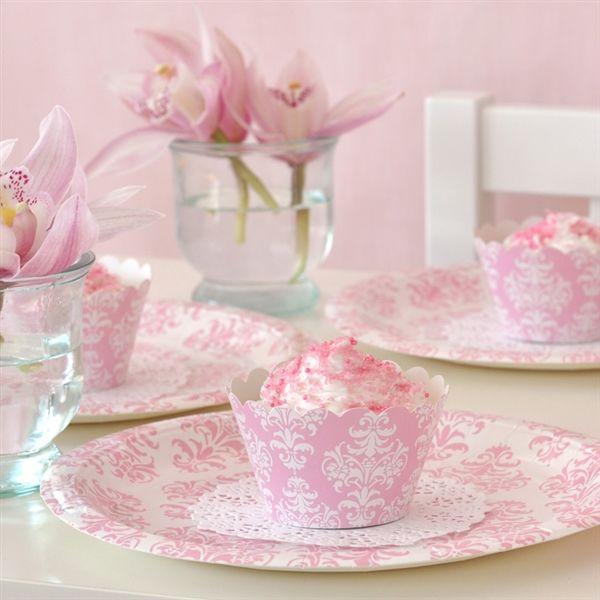 Damask pink partyware - Illume Design