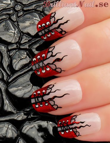 NEW YEAR Corset Inspired Nail Art Design by BrilliantNail, via Flickr.... Very cool!
