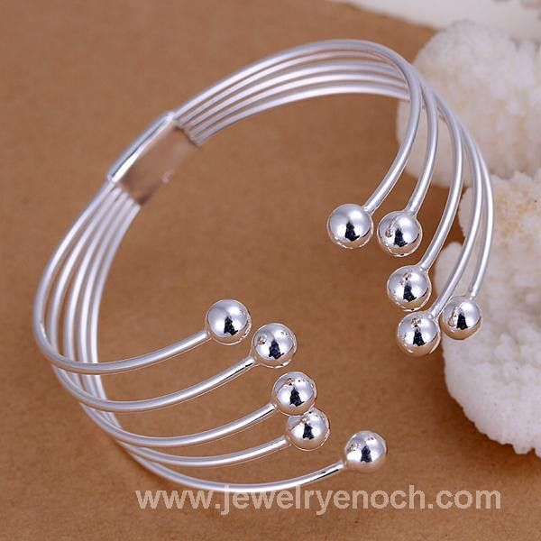 Best Selling Trending Strand Chain Shaped Silver Plated Wrist Beads Bangle