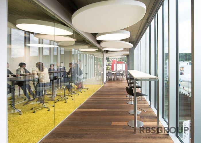 ... Office Interior Modern Style Corporate Interior Design Inspiration With The Round Suspended Clouds In The Corridor Of This ...