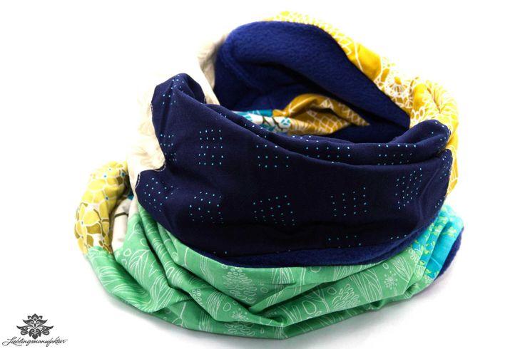 Schal blau mint gelb Winterschal Damen lang - Rundschal aus der #Lieblingsmanufaktur