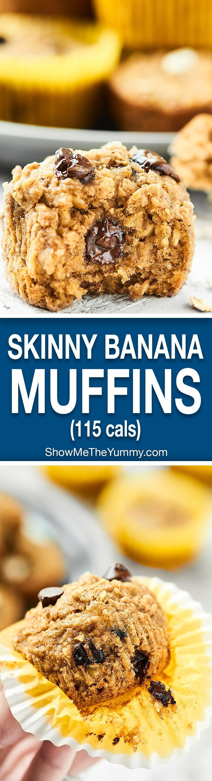 At only 115 calories, these are muffins you don't have to feel bad about! These Skinny Banana Chocolate Chip Muffins are naturally gluten free, vegan, ultra moist, and completely delicious! Nobody will ever guess these are healthy! http://showmetheyummy.com #skinnymuffins #healthymuffins