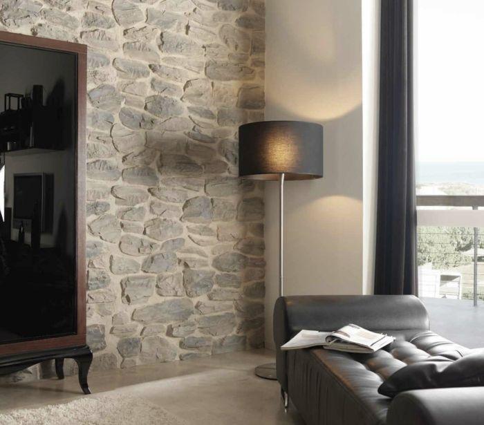 wandpaneele steinoptik erholungsbereich relaxsessel kleiderschrank