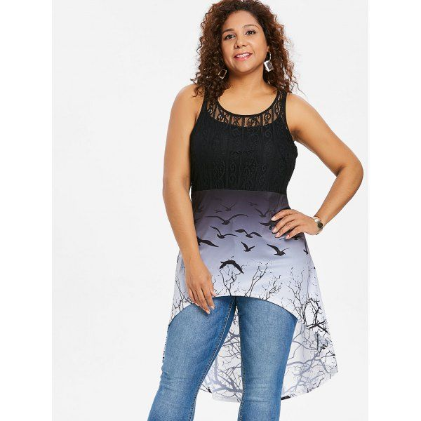 Plus Size Bat Print Lace Panel High Low Top 1