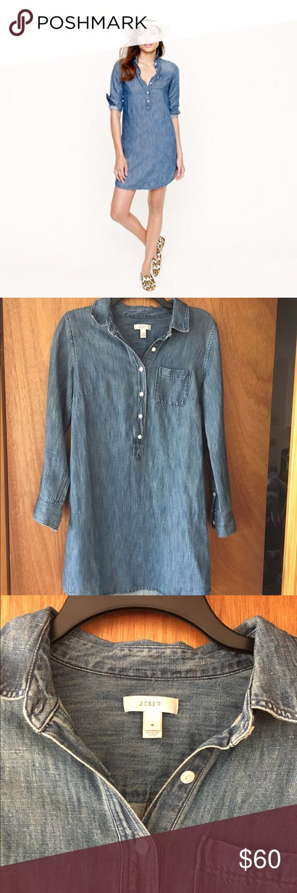 Chambray Shirt Dress Worn once- perfect condition! J. Crew Dresses