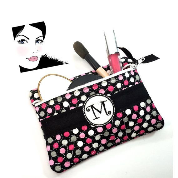 Monogram Cosmetics Case Pouch Clutch Organizer~Zippered Makeup Bag Purse Storage~Gifts for Her Mom Best Friend Women Sister GrandMa Daughter