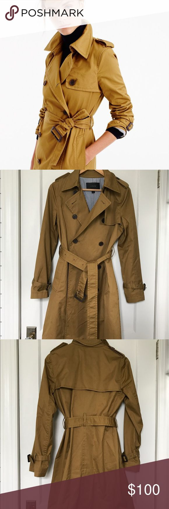 "J Crew Women's City Trench Coat (2016) Tailored for a fitted look. Body length: 39 1/2"". Sleeve length: 32 1/2"". Hits above knee. Retailed originally for $158; no longer sold by J. Crew. This item is a size 4 and fits true to size. This coat has never been worn, but does not have the tags. J. Crew Jackets & Coats Trench Coats"