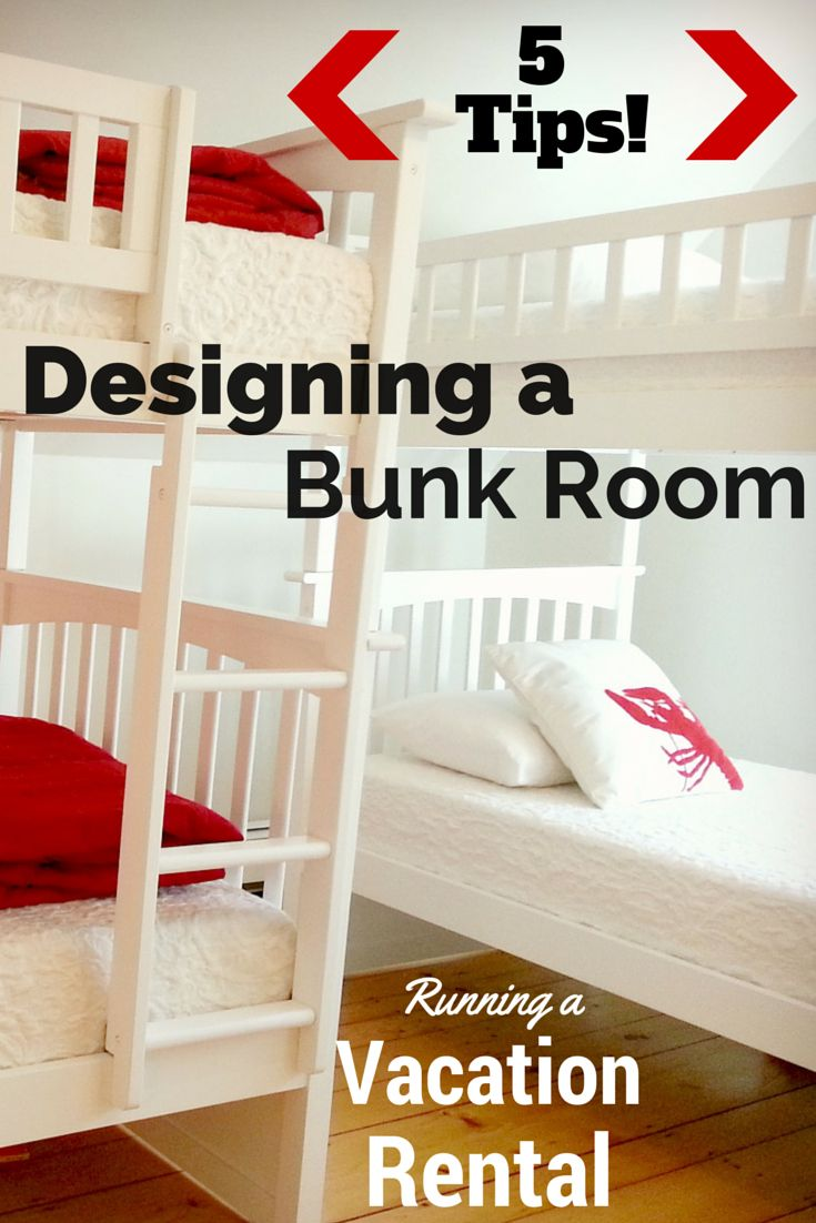 5 Tips for Dreamy Bunk Rooms: Bunk rooms and vacation rental homes go together perfectly! You can design a cozy bunk room that keeps kids and adults happy, following our easy planning tips. Home Decor | Vacation Rental | Bunk Bed Ideas
