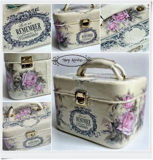 Stary Kredens - Blog - Decoupage: Romantyczny kuferek angielskie napisy i różowe róże - Decoupage.
