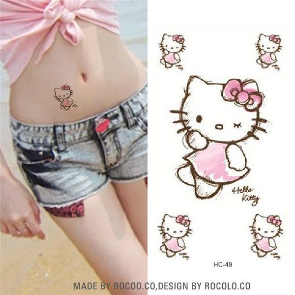 HC1049 Waterproof Fake Tattoo Women Sexy Belly Waist Cartoon Hello Kitty Stickers For Childrens Flash Temporary Tattoo Decals