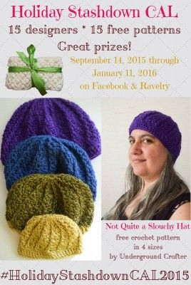 Not Quite a Slouchy Hat, free #crochet pattern in 4 sizes (infant through adult) by Marie Segares/Underground Crafter for #HolidayStashdownCAL2015: