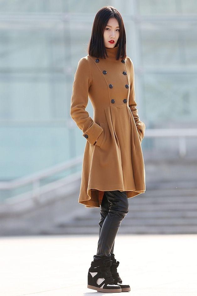 Lange Mäntel - 100% Kaschmir-Mantel für Frauen braun - CF062 - ein Designerstück von Lu-yahui bei DaWanda
