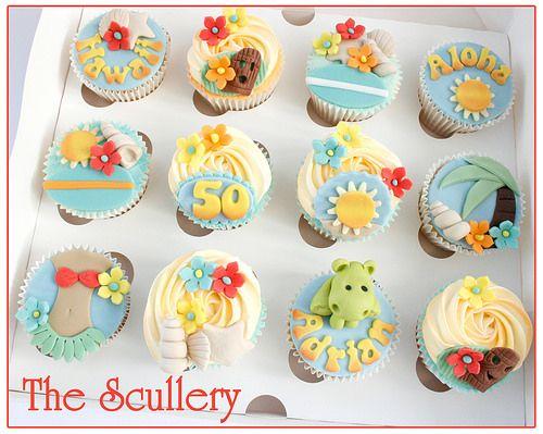 Hawaii theme cupcakes