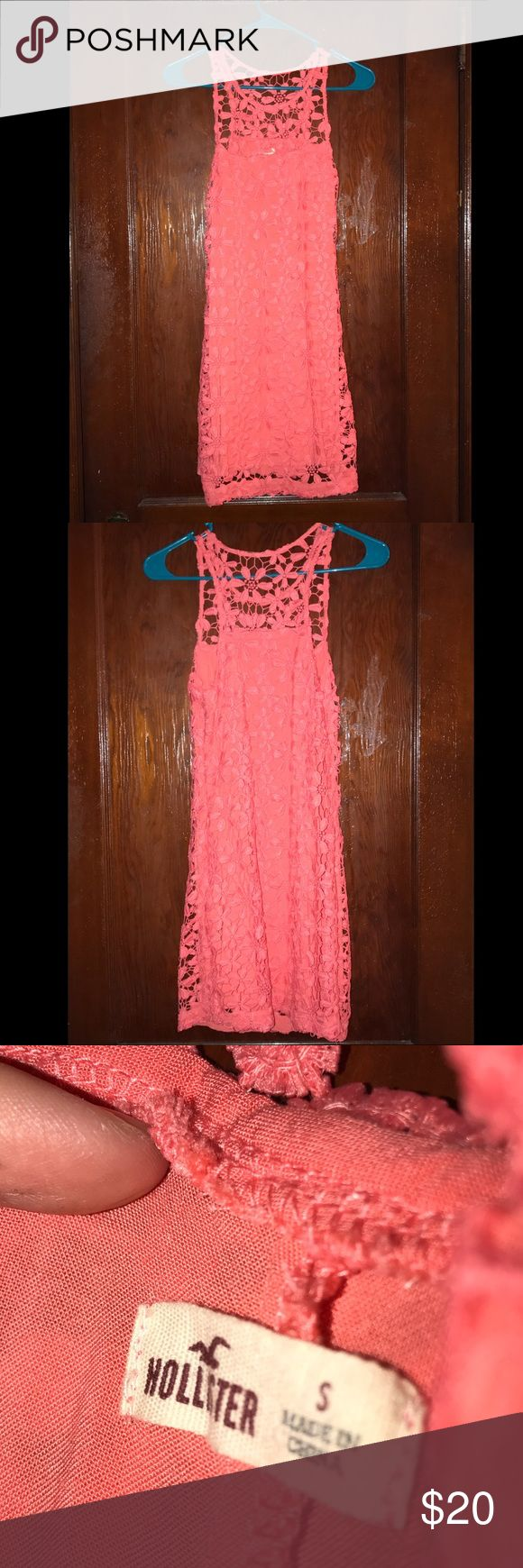 Coral Floral Lace Hollister Dress Selling my color Lace Hollister dress! I only wore this once to a party and doesn't fit me anymore so figured I'd put it up on here! It's a perfect dress for a summer event or a girls night out! Pair it with a pair of gold flats and you'll be golden! Offers accepted!! ☺️ Pictures are stock pics of what it looks like on! Hollister Dresses Mini