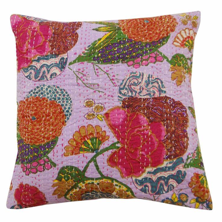 Purple color cotton fabric kantha stitch patchwork Cushion Cover / Pillow Case.