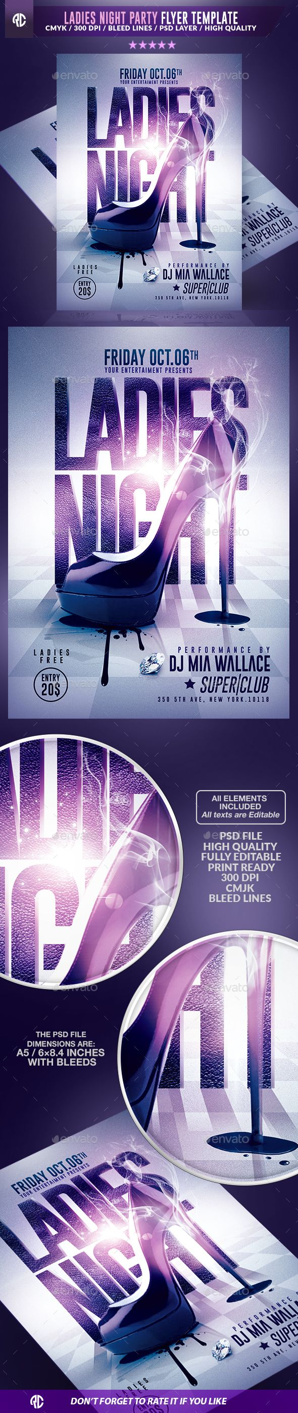Ladies Night Party Flyer Template PSD #design Download: http://graphicriver.net/item/ladies-night-party-psd-flyer-template/13177305?ref=ksioks