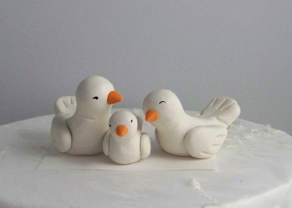Bird Wedding Cake Topper Trio Nuzzling by CountrySquirrelsRUS