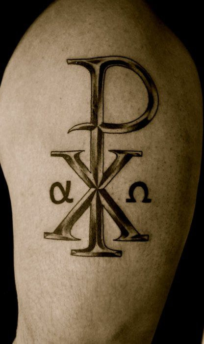 Another chi rho tattoo i like christian pins pinterest for Christians and tattoos