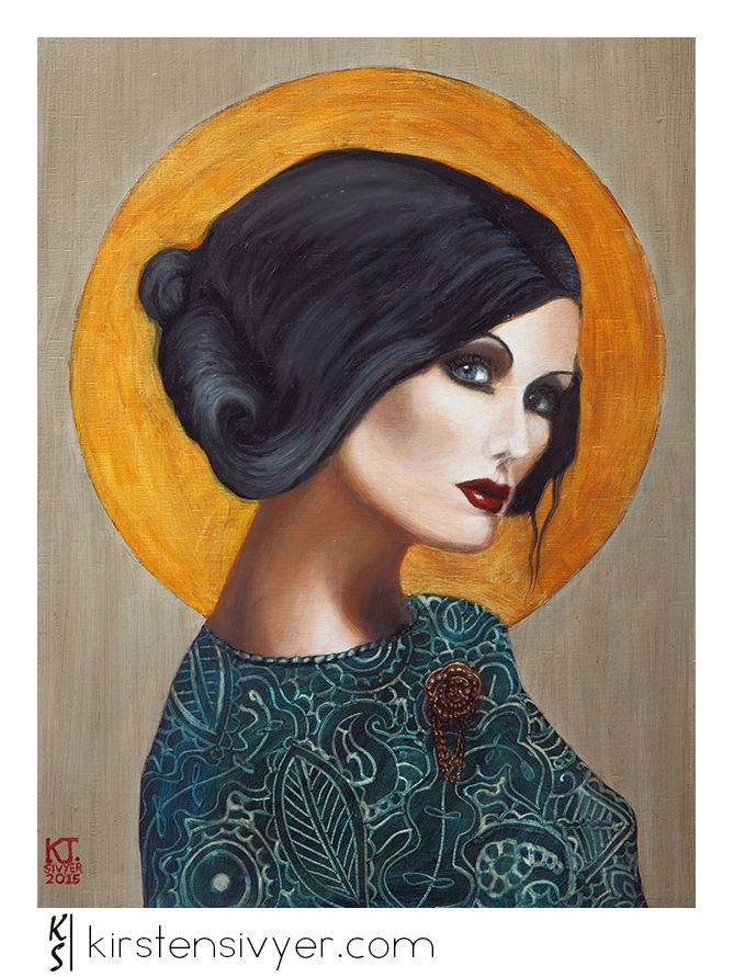 West Australian artist Kirsten Sivyer. Painting 'Hallowed, in Green' oil paint on wooden panel, 30cm x 40cm POA. Elegant female portrait in gold grey and green, with golden halo.   www.kirstensivyer.com