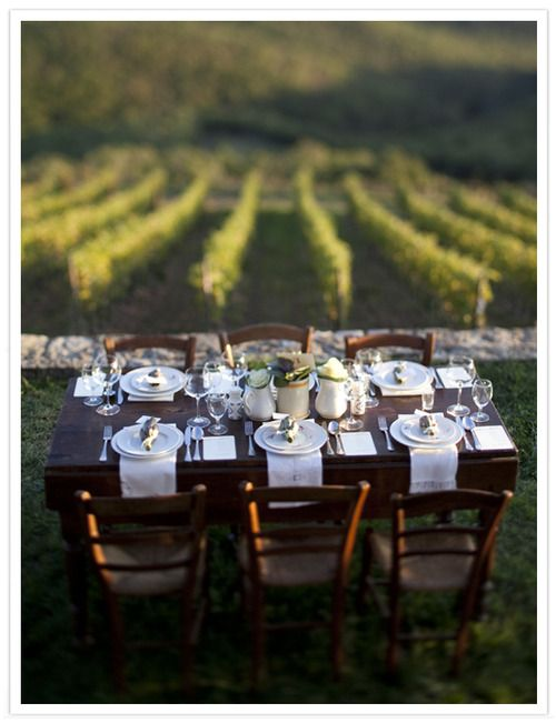 Table for six with a veiw: Wine, Alfresco, The Vineyard, Tables Sets, Outdoor, Dinners Tables, Vineyard Wedding, Dinners Parties, To Fresh