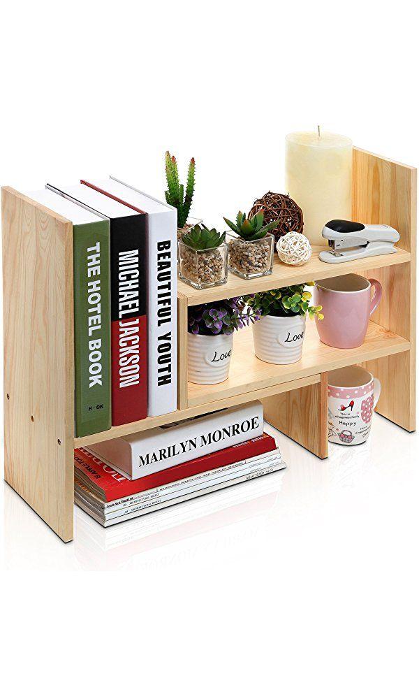 Adjustable Natural Wood Desktop Storage Organizer Display Shelf Rack Counter Top Bookcase Beige Organizer Desktop Diy Schreibtisch Ideen